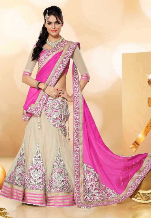 Light Beige Net Lehenga Choli