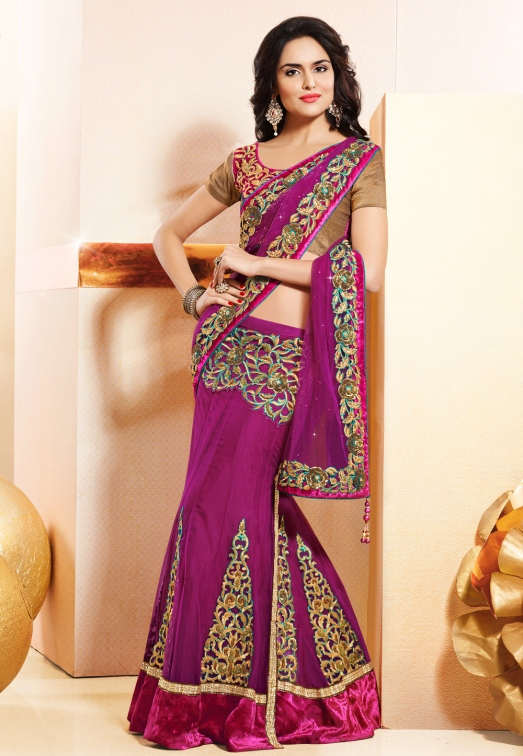 Magenta Net and Satin Lehenga Style Saree