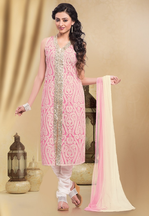 Pink Net Readymade Churidar Kameez