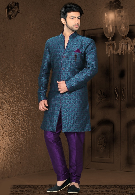 Purple and Teal Blue Art Silk Jacquard Readymade Indo Western Suit