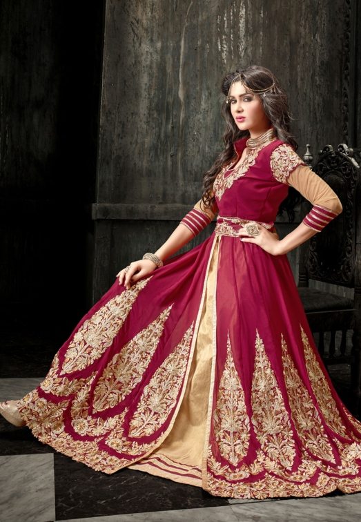 Maroon and Beige Faux Georgette Double Layered Abaya Style Churidar Kameez