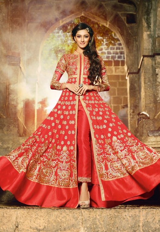 Red Faux Georgette and Art Silk Abaya Style Kameez with Straight Pant