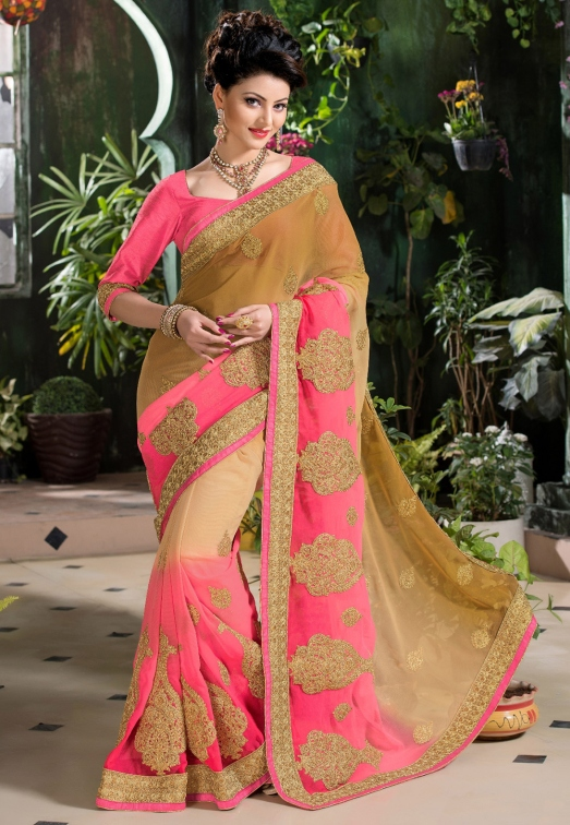Beige and Fuchsia Faux Chiffon Saree