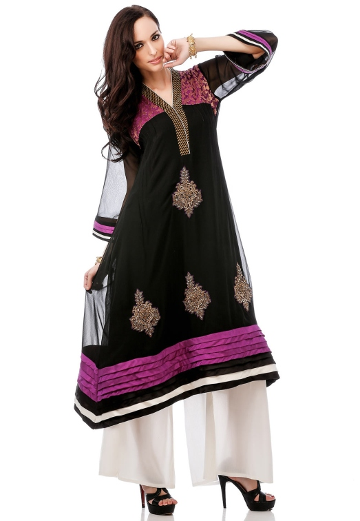 Black Faux Georgette Readymade Asymmetrical Long Kurta