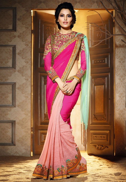 Fuchsia, Light Aqua and Peach Faux Georgette and Net Saree