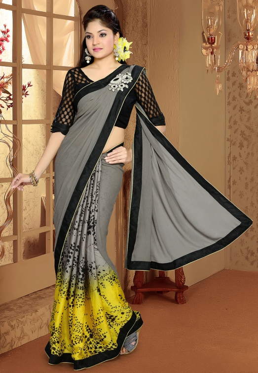 Grey and Yellow Faux Georgette and Satin Saree