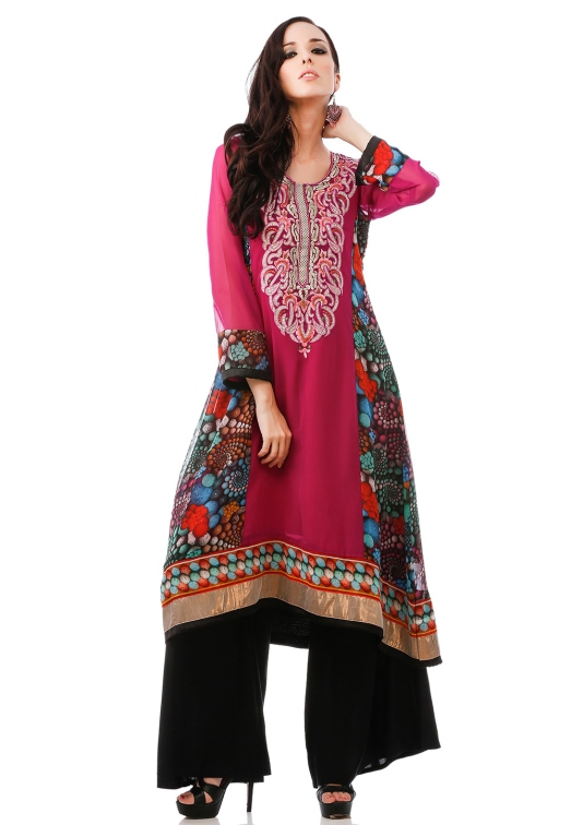 Magenta Faux Georgette Readymade Long Kurta