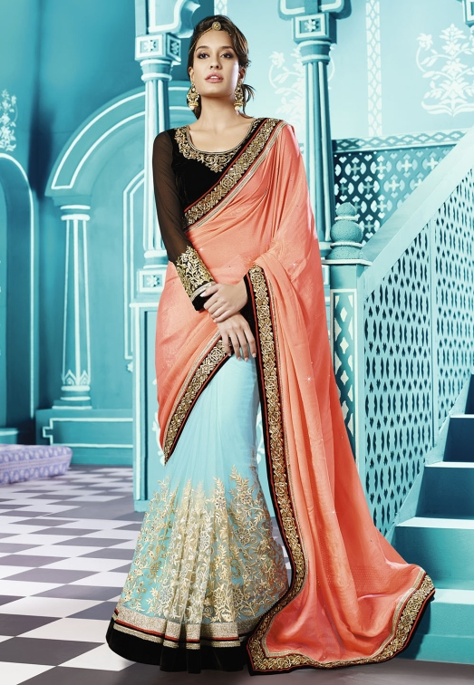 Peach and Aqua Faux Chiffon Shimmer and Net Saree