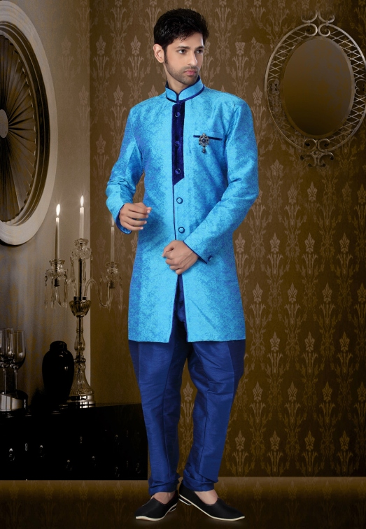 Light Blue Art Silk Readymade Indo Western Suit